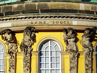 Sanssouci - Architectural detail from the central bow of the garden façade: Atlas and Caryatids.