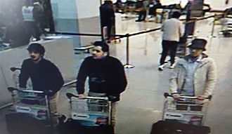 2016 Brussels bombings - Still from CCTV footage showing Najim Laachraoui (left), Ibrahim El Bakraoui (centre), and Mohamed Abrini (right).