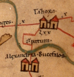 Alexandria Bucephalous - Bucefala in the 4th century as shown on the Peutinger Map.