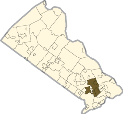 Location of Middletown Township in Bucks County