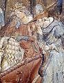Buffalmacco, trionfo della morte, incontro dei tre vivi coi tre morti 10 cavalieri.JPG