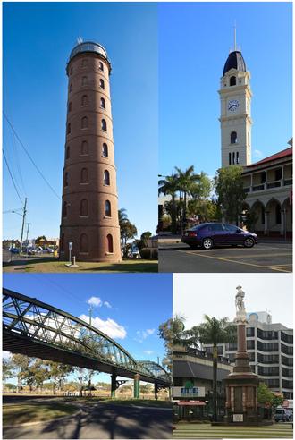 Bundaberg - From top left clockwise: East Water Tower, Bundaberg Post Office, War Memorial, Burnett Bridge