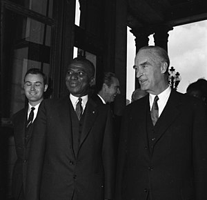 Alfried Krupp von Bohlen und Halbach - Alfried Krupp von Bohlen und Halbach (right), with President Sylvanus Olympio of Togo, while visiting Villa Hügel on 17 May 1961