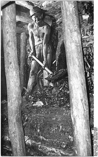 "Hewer - Image: Bundesarchiv Bild 183 50124 0004, Zwickau, Zeche ""Martin Hoop"", Bergarbeiter mit Schaufel"