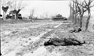 Operation Solstice - Dead Soviet soldiers and destroyed tanks in southern Pomerania, 20 February 1945