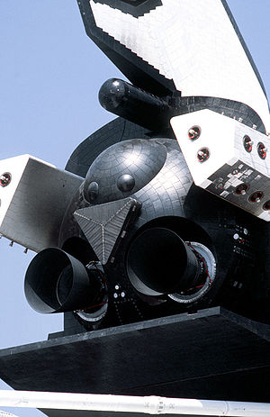 Spaceplane - Buran orbiter rear showing rocket engine nozzles, for maneuvering in low Earth orbit and thin air