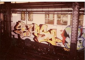 Graffiti in New York City - Bbus129 by dondi panelpiece on a New York City Subway car, 1984