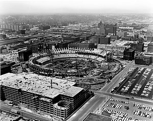 History of the St. Louis Cardinals (1953–89) - Busch Memorial Stadium under construction in 1965