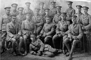 Shepherd's Bush Village Hall - Officers of the C Company of Bushmen (West London Volunteers) 1915. The commander, Sir William Bull MP, is in the centre of the group. The Bushmen were a Home Defence Volunteer Corps, composed of men considered not fit for active duty in the armed services. They had to provide their own equipment and uniforms.