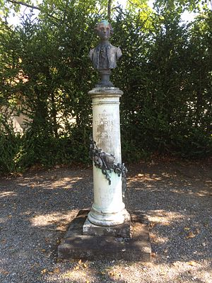 Jean-Pierre Claris de Florian - Column supporting bust of Jean-Pierre Claris de Florian in the grounds of Voltaire's house at Ferney-Voltaire