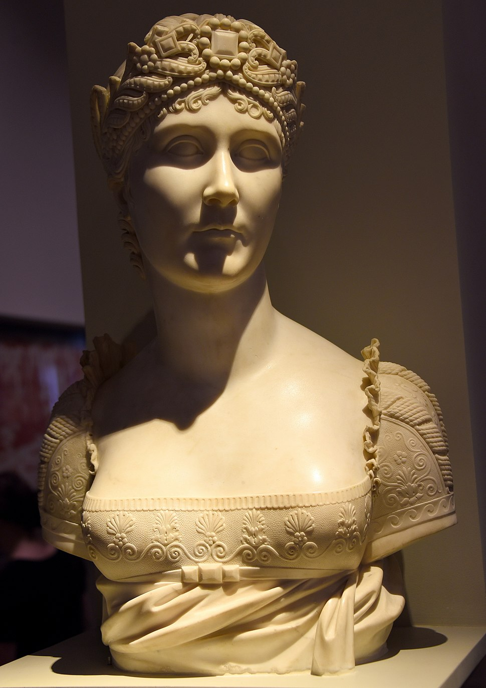 Bust of Josephine Bonaparte, c. 1808 CE. Marble, from Paris, France. By Joseph Chinard. Bequeathed by Miss F.H. Spiers. The Victoria and Albert Museum, London