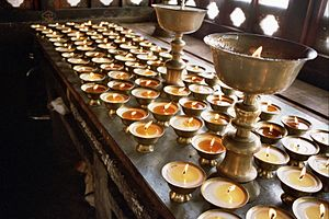 Tango Monastery - Butter lamps lighted in the temples of the monastery