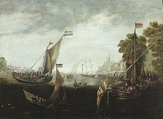 Zeilschepen op een rivier