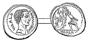Vallum - Coin depicting Numonius Vala attacking a vallum.