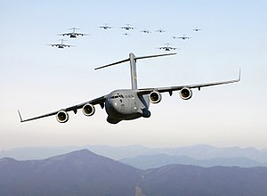 Boeing C-17 Globemaster III - USAF C-17s in flight over the Blue Ridge Mountains in the eastern U.S.
