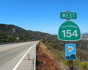 California State Route 154 - California 154 marker sign.