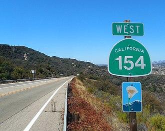 California State Route 154 - California SR 154 marker sign on San Marcos Pass Road in Santa Barbara