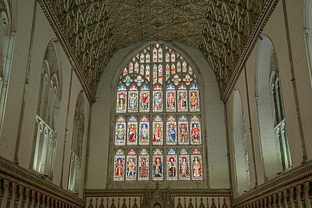 The stained glass windows in the chapter-house CANTERBURY CATHEDRAL GLASS C7471.jpg