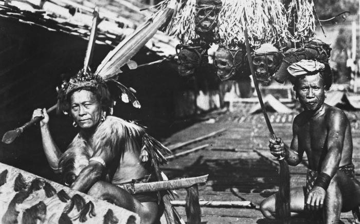 COLLECTIE TROPENMUSEUM Een Ibu Dajak krijger uit Long Nawan Z. en O. afdeling Borneo. TMnr 60034031