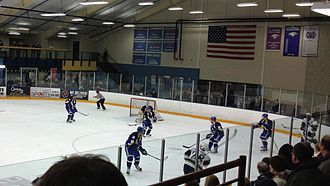 College of St. Scholastica - The Saints' men's hockey team playing a road game in Eau Claire.