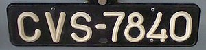 Vehicle registration plates of Cape Verde - An old-style car registration of Cape Verde.
