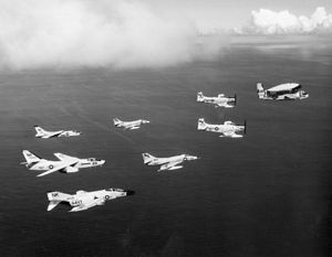 Carrier Air Wing Fourteen - Image: CVW 14 aircraft in in flight 1963