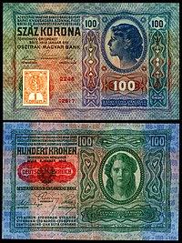 CZE-4a-Republika Ceskoslovenska-100 Korun (1919, foreløpig utgave) .jpg