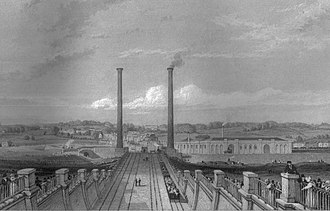 London and Birmingham Railway - Camden Town stationary steam engine chimneys and locomotive workshops in 1838.