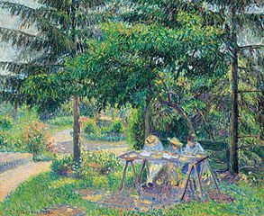 Children Seated at a Table in the Garden, Éragny