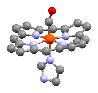 Carboxyhemoglobin - A heme unit of human carboxyhaemoglobin, showing the carbonyl ligand at the apical position, trans to the histidine residue.