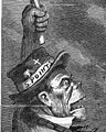 """Caricature of the Irish in America with """"S. POINTS"""" text, a cross and clay pipe on hat, from- """"This is a White Man's Government!"""" (September 1868), by Thomas Nast (cropped).jpg"""