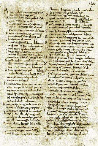 Medieval Latin - Carmina Cantabrigiensia, Medieval Latin manuscript