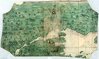 "Jacques Cartier - This Spanish chart of the Saint Lawrence River, from ca. 1541, contains a legend in front of the ""isla de Orliens"" that says: ""Here many French died of hunger""; possibly alluding to Cartier's second settlement in 1535–1536."