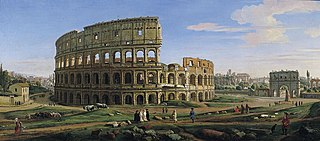 View of the Colosseum and Arch of Constantine from the East, Rome