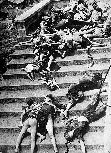 Casualties of a mass panic during a June 1941 Japanese bombing of Chongqing. More than 5,000 civilians died during the first two days of air raids in 1939. Casualties of a mass panic - Chungking, China.jpg