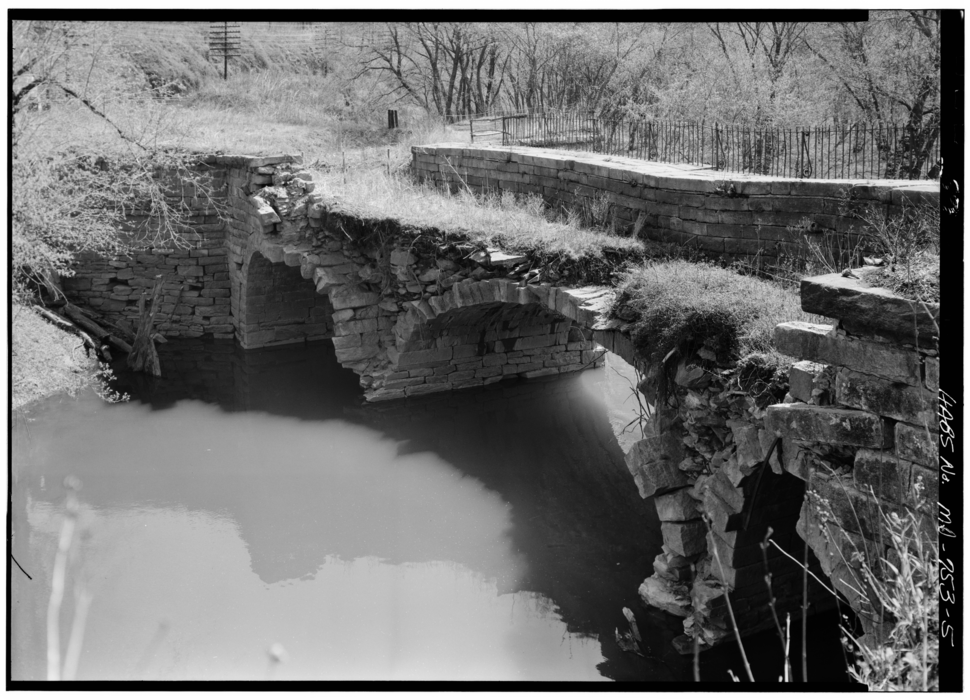 Catoctin Ck Aqueduct Berm Side before Collapse from HABS