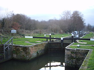 Wey and Godalming Navigations - Catteshall Lock, the southernmost lock on the Navigations at Farncombe, Godalming, Surrey.