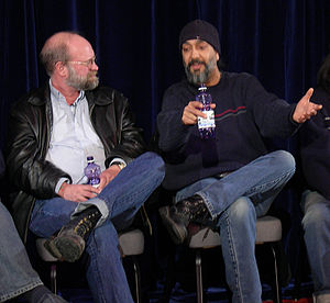 Art Chantry - Chantry (left) with Kim Thayil of Soundgarden, 2007