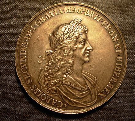 Charles II in profile on a medal struck in 1667 by John Roettier to commemorate the Second Dutch War CharlesII1667Medal.jpg