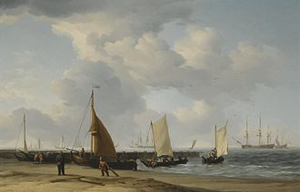 Charles Brooking - A Dutch Beach Scene with a Man-of-War in the Distance