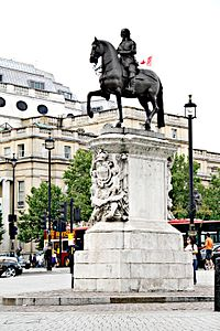 The Statue of King Charles I on its plinth at Whitehall, London
