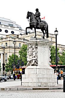 The equestrian statue of Charles I on its plinth at Charing Cross, London