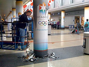 Chicago bid for the 2016 Summer Olympics - Removing of 2016 Chicago banners at O'Hare.