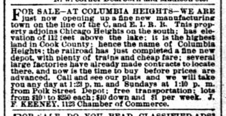 Steger, Illinois - Classified ad from the Chicago Daily Tribune edition of October 25, 1891, offering real estate for sale in the newly developing community of Columbia Heights