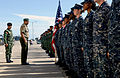 Chief of Staff of the Timor-Leste Defense Force Col. Falur Rate Laek, second from left, inspects U.S. Sailors assigned to the guided missile destroyer USS Kidd (DDG 100) and Timor-Leste Defense Force service 140224-N-YU572-065.jpg