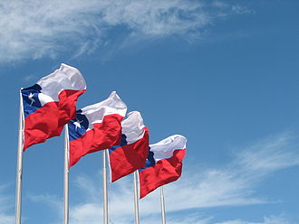 Flag of Chile - Chilean flags waving in Puerto Montt.