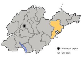 Qingdaos beliggenhed i Shandong, Kina.