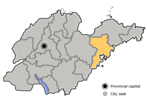 Qingdao is highlighted on this map