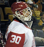 "An ice hockey goaltender is shown in profile, facing right, from the armpits up.  He is wearing a red helmet with a white cage attached to the helmet which covers his face. The words ""Red Wings"" are printed in white on the side of the helmet. His uniform number 30 is visible on his right arm."