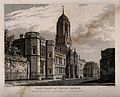 Christ Church, Oxford; panoramic view. Line engraving by J. Wellcome V0014082.jpg